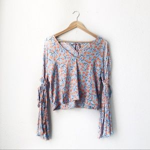 Free People | Blue Cherry Pie Blouse Size Small